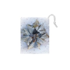 Winter Frost Ice Sheet Leaves Drawstring Pouches (xs)