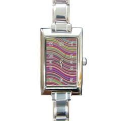 Wave Abstract Happy Background Rectangle Italian Charm Watch