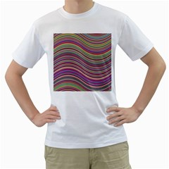 Wave Abstract Happy Background Men s T Shirt (white) (two Sided)