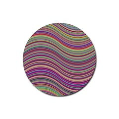 Wave Abstract Happy Background Rubber Coaster (round)