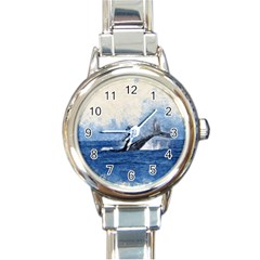 Whale Watercolor Sea Round Italian Charm Watch