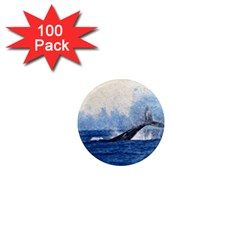 Whale Watercolor Sea 1  Mini Magnets (100 Pack)