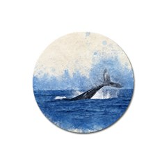 Whale Watercolor Sea Magnet 3  (round)