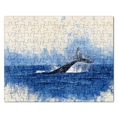 Whale Watercolor Sea Rectangular Jigsaw Puzzl