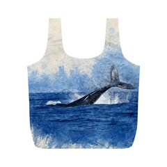 Whale Watercolor Sea Full Print Recycle Bags (m)