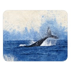 Whale Watercolor Sea Double Sided Flano Blanket (large)