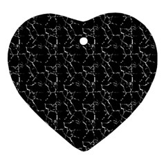 Black And White Textured Pattern Ornament (heart)