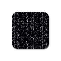 Black And White Textured Pattern Rubber Coaster (square)