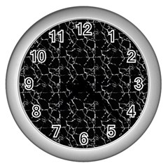 Black And White Textured Pattern Wall Clocks (silver)