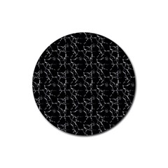 Black And White Textured Pattern Rubber Coaster (round)