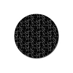Black And White Textured Pattern Magnet 3  (round)