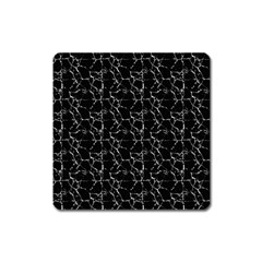 Black And White Textured Pattern Square Magnet