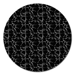 Black And White Textured Pattern Magnet 5  (round)