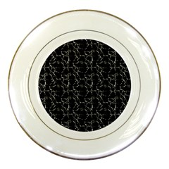 Black And White Textured Pattern Porcelain Plates