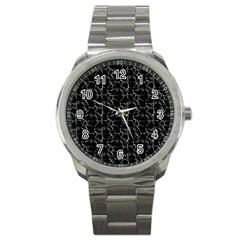 Black And White Textured Pattern Sport Metal Watch