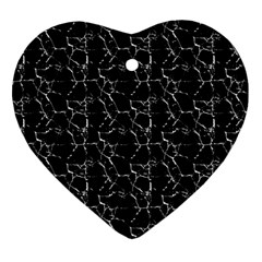 Black And White Textured Pattern Heart Ornament (two Sides)