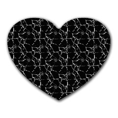 Black And White Textured Pattern Heart Mousepads