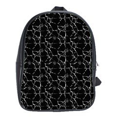 Black And White Textured Pattern School Bag (large)