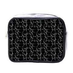 Black And White Textured Pattern Mini Toiletries Bags