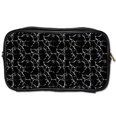 Black And White Textured Pattern Toiletries Bags 2 Side