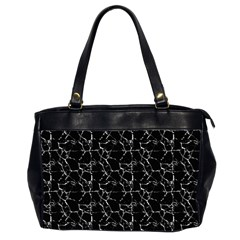 Black And White Textured Pattern Office Handbags (2 Sides)