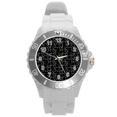Black And White Textured Pattern Round Plastic Sport Watch (l)