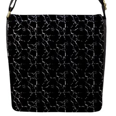 Black And White Textured Pattern Flap Messenger Bag (s)