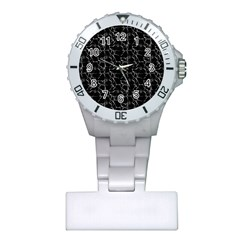 Black And White Textured Pattern Plastic Nurses Watch