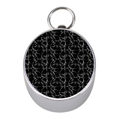 Black And White Textured Pattern Mini Silver Compasses