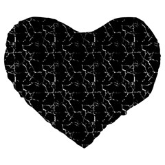 Black And White Textured Pattern Large 19  Premium Flano Heart Shape Cushions