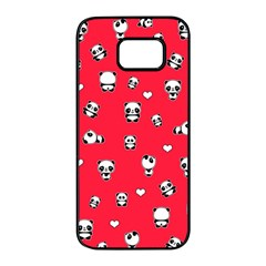 Panda Pattern Samsung Galaxy S7 Edge Black Seamless Case