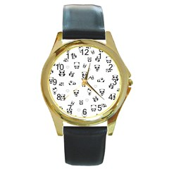 Panda Pattern Round Gold Metal Watch