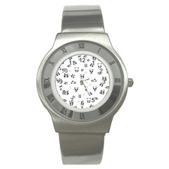 Panda Pattern Stainless Steel Watch