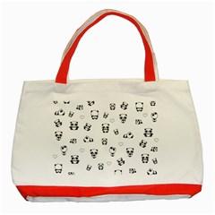 Panda Pattern Classic Tote Bag (red)