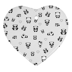 Panda Pattern Heart Ornament (two Sides)