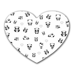 Panda Pattern Heart Mousepads