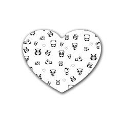 Panda Pattern Heart Coaster (4 Pack)