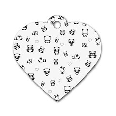 Panda Pattern Dog Tag Heart (two Sides)