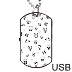 Panda Pattern Dog Tag Usb Flash (one Side)