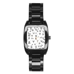 Panda Pattern Stainless Steel Barrel Watch