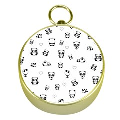 Panda Pattern Gold Compasses