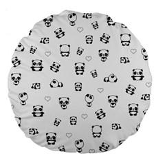 Panda Pattern Large 18  Premium Flano Round Cushions