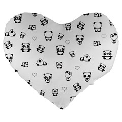 Panda Pattern Large 19  Premium Flano Heart Shape Cushions