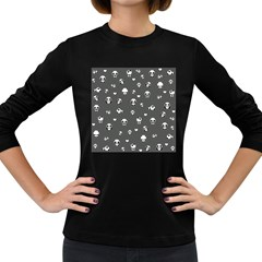 Panda Pattern Women s Long Sleeve Dark T Shirts