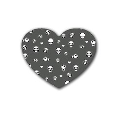 Panda Pattern Rubber Coaster (heart)