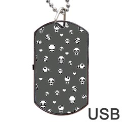 Panda Pattern Dog Tag Usb Flash (two Sides)