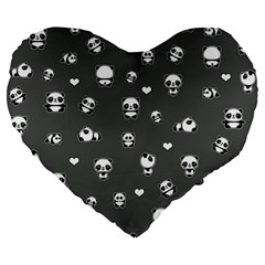 Panda Pattern Large 19  Premium Heart Shape Cushions