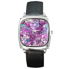 Fun,fantasy And Joy 7 Square Metal Watch