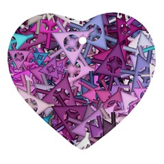 Fun,fantasy And Joy 7 Heart Ornament (two Sides)
