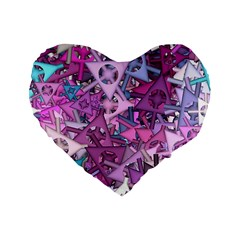 Fun,fantasy And Joy 7 Standard 16  Premium Flano Heart Shape Cushions
